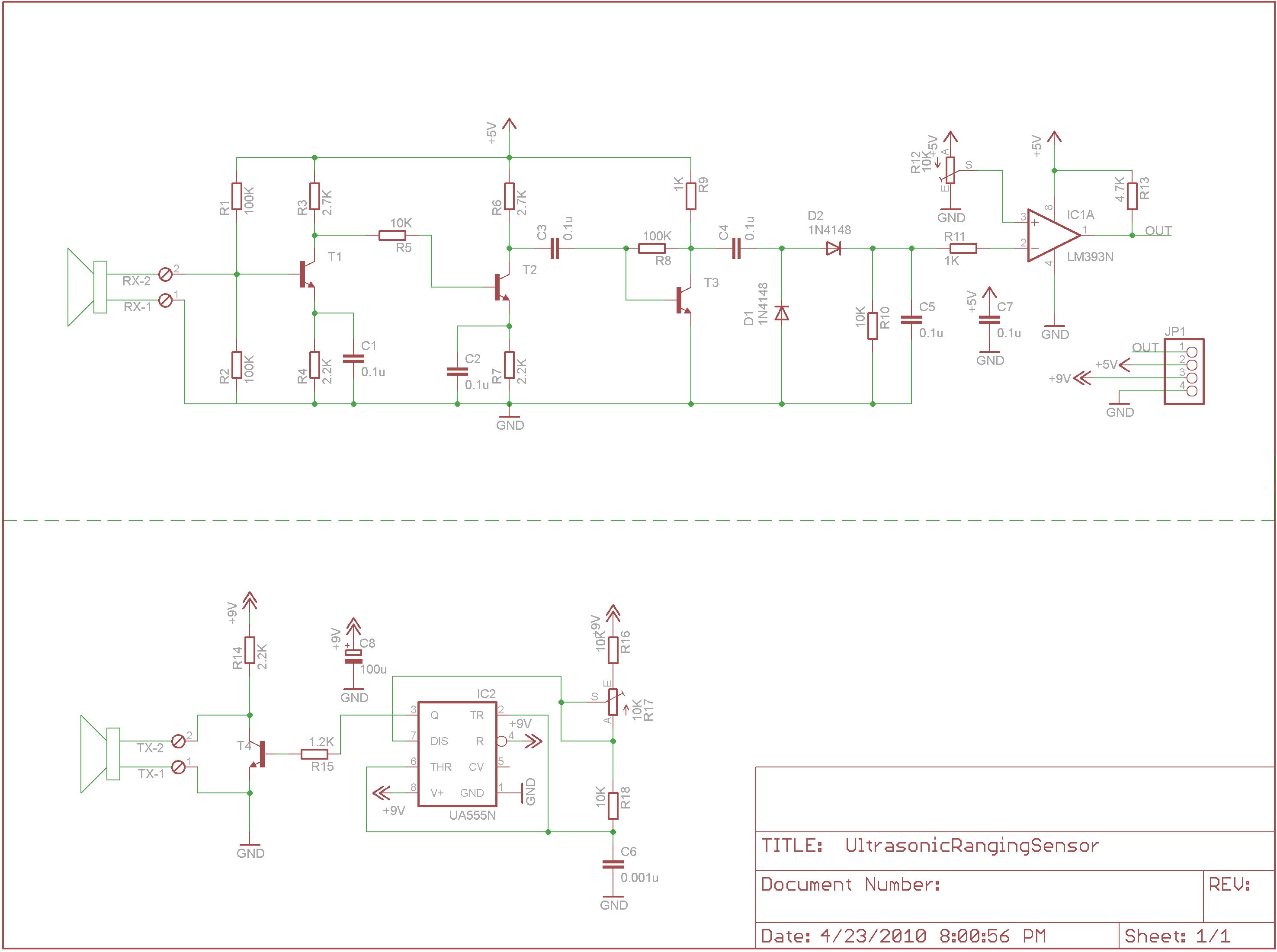 Ultrasonic Ranging Sensor on 40khz Ultrasonic Sensor Schematic